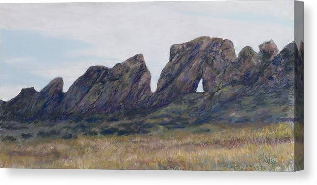 Loveland Colorado Landscape Canvas Print featuring the painting Devils Backbone Looking East by Billie Colson