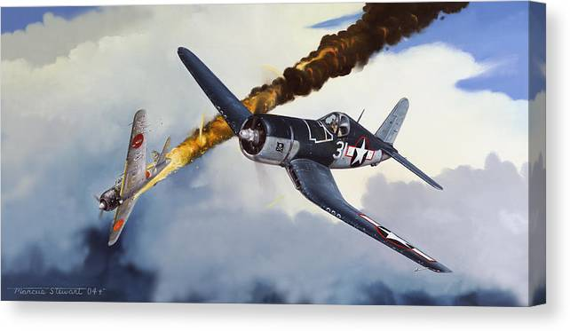 Military Canvas Print featuring the painting First Kill for the Jolly Rogers by Marc Stewart