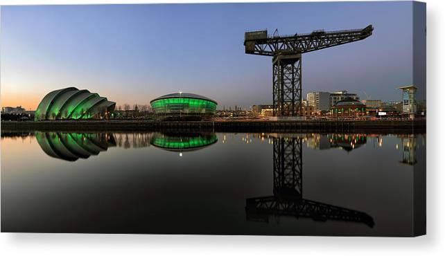 Panoramic Image Canvas Print featuring the photograph Clyde Civil Twilight by Grant Glendinning