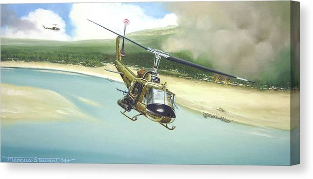 Military Canvas Print featuring the painting Hunter Hueys by Marc Stewart