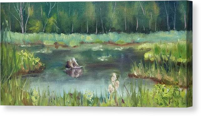 Marsh Canvas Print featuring the painting In Company of Bullfrogs by Sharon E Allen