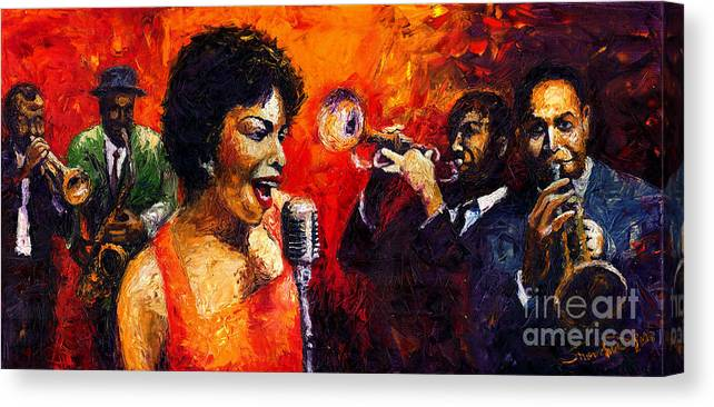 Jazz.song.trumpeter Canvas Print featuring the painting Jazz Song by Yuriy Shevchuk