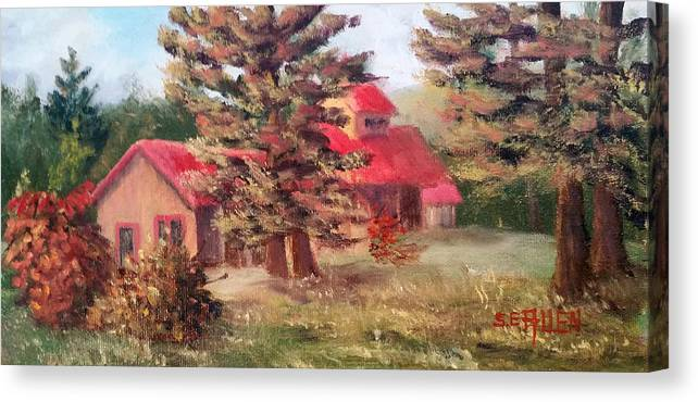 Sugar House Canvas Print featuring the painting Maple Syrup for Sale by Sharon E Allen