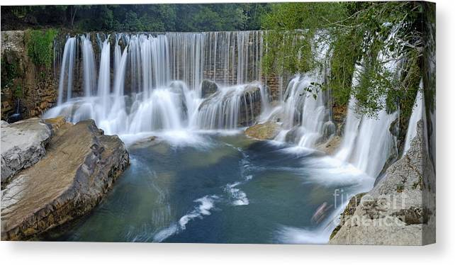 Panoramic View Of Waterfalls On La Vis River Canvas Print Canvas Art By Sami Sarkis