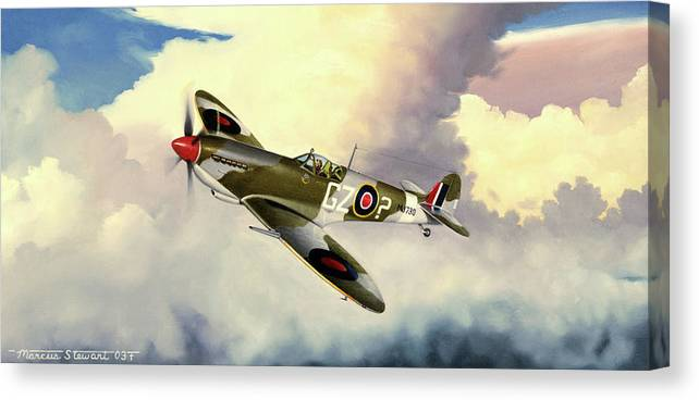 Military Canvas Print featuring the painting Spitfire by Marc Stewart