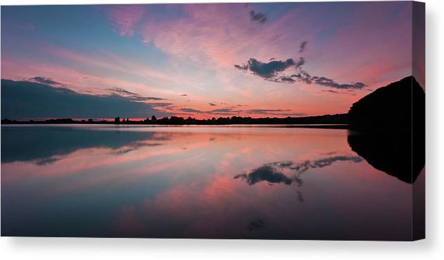 Sunrise Canvas Print featuring the photograph Sunset at Anglezarke Reservoir #4, Rivington, Lancashire, North West England by Anthony Lawlor