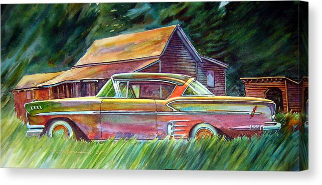 Rusty Car Chev Impala Canvas Print featuring the painting This Impala Doesn by Ron Morrison