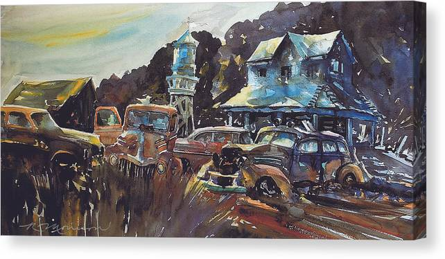 Old Cars Canvas Print featuring the painting Water Tower Wardens by Ron Morrison