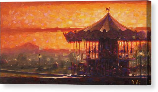 Travelart Canvas Print featuring the painting Carousel of Honfleur by Rob Buntin