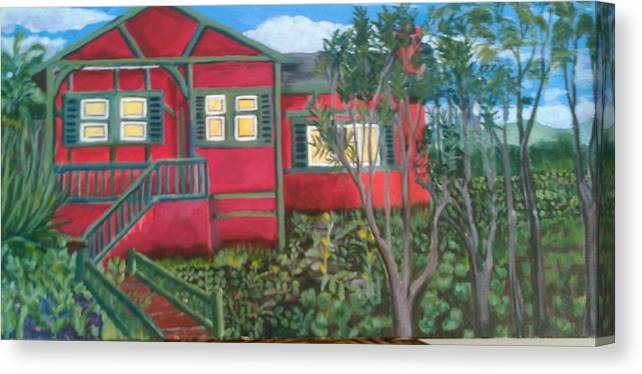Painting Of House Canvas Print featuring the painting Fresh yard by Andrew Johnson