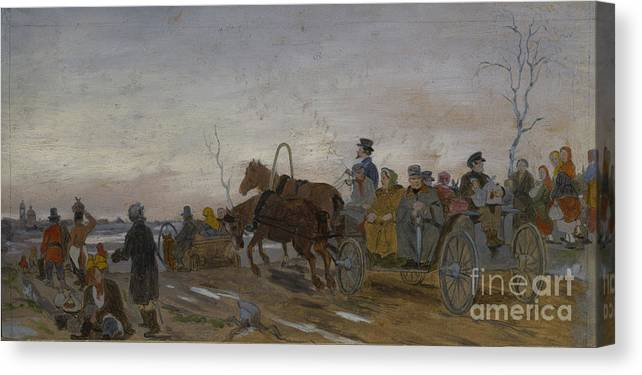 Panoramic Canvas Print featuring the drawing Holy Saturday Evening, End 1860s-early by Heritage Images