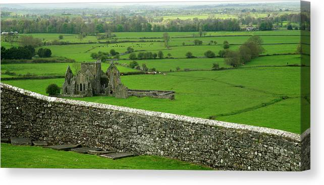 Scenics Canvas Print featuring the photograph Ireland Country Scape With Castle Ruins by Njgphoto