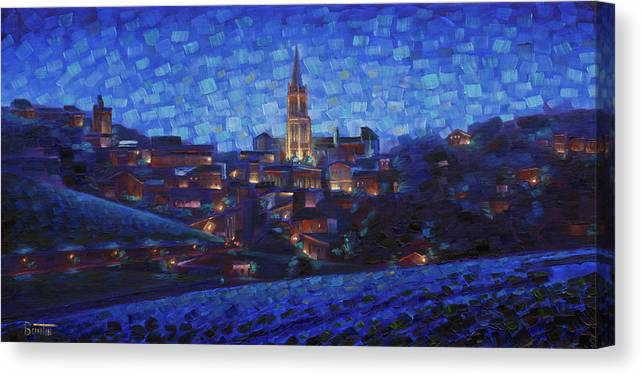 Robbuntin Art Canvas Print featuring the painting St. Emilion art at night by Rob Buntin