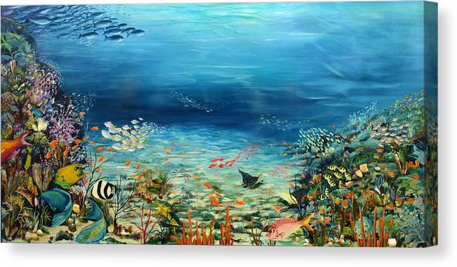 Ocean Painting Undersea Painting Coral Reef Painting Caribbean Painting Calypso Reef Painting Undersea Fishes Coral Reef Blue Sea Stingray Painting Tropical Reef Painting Tropical Painting Canvas Print featuring the painting Deep Blue Dreaming by Karin Dawn Kelshall- Best