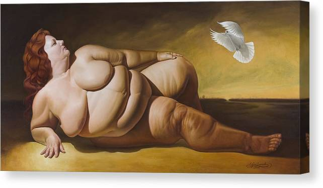 Reclining Nude With Dove Canvas Print featuring the painting Enlightenment by Gary Hernandez