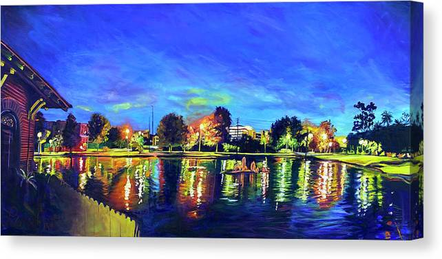 Night Canvas Print featuring the painting Night Lights by Bonnie Lambert
