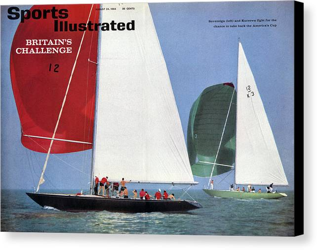 Magazine Cover Canvas Print featuring the photograph 1964 Americas Cup Preview Sports Illustrated Cover by Sports Illustrated