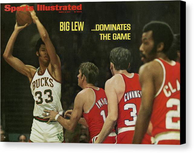 Magazine Cover Canvas Print featuring the photograph Big Lew . . . Dominates The Game Sports Illustrated Cover by Sports Illustrated