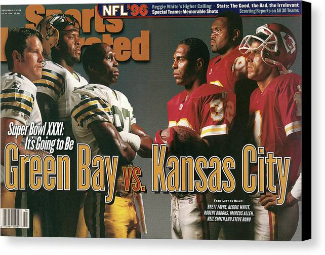 Green Bay Canvas Print featuring the photograph Green Bay Packers And Kansas City Chiefs, 1996 Nfl Football Sports Illustrated Cover by Sports Illustrated