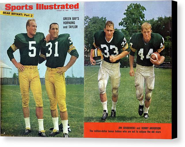 Magazine Cover Canvas Print featuring the photograph Green Bays Hornung And Taylor Sports Illustrated Cover by Sports Illustrated