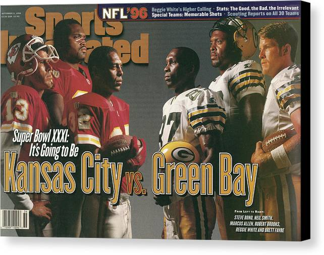 Brett Favre Canvas Print featuring the photograph Kansas City Chiefs Vs Green Bay Packers, 1996 Nfl Football Sports Illustrated Cover by Sports Illustrated