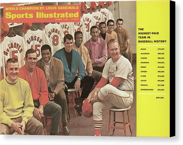 St. Louis Cardinals Canvas Print featuring the photograph St. Louis Cardinals, 1968 World Series Champions Sports Illustrated Cover by Sports Illustrated