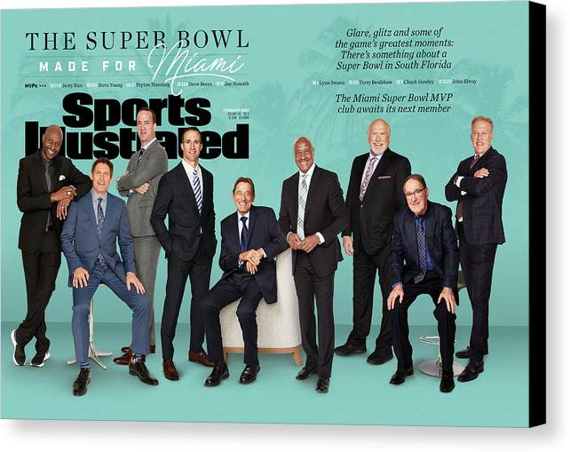 Magazine Cover Canvas Print featuring the photograph The Super Bowl Made For Miami Sports Illustrated Cover by Sports Illustrated