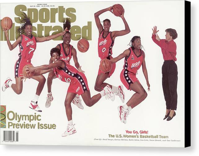 The Olympic Games Canvas Print featuring the photograph Usa Womens Basketball Team, 1996 Atlanta Olympic Games Sports Illustrated Cover by Sports Illustrated