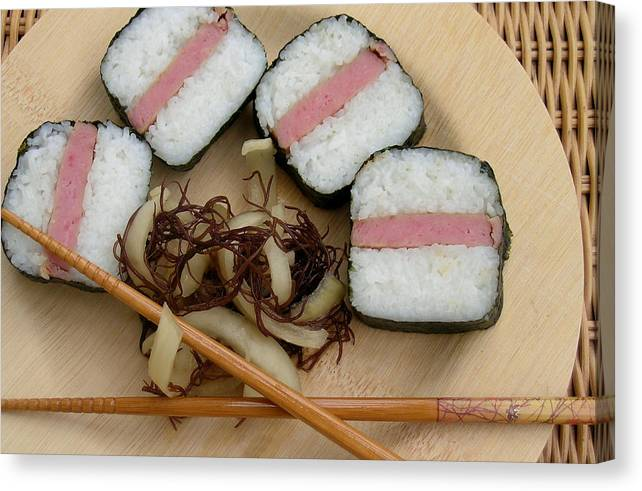 Spam Canvas Print featuring the photograph Hawaiian Spam Musubi by James Temple