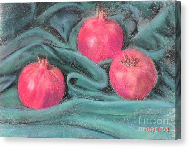 3 Pomegranates Canvas Print featuring the painting Pomegeranates by Ziba Bastani