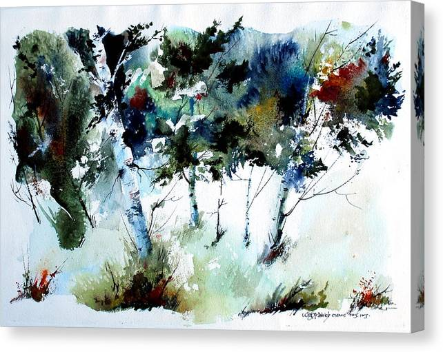 Abtract Forest Trees Canvas Print featuring the painting How Green Was MY Valley by Wilfred McOstrich