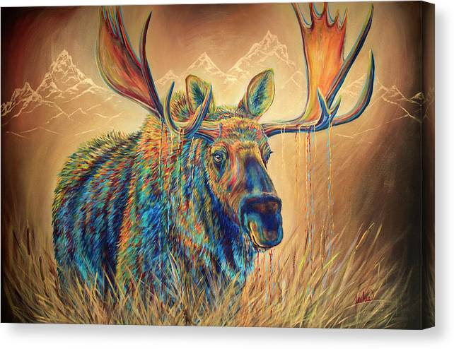 Moose Canvas Print featuring the painting Swamp Thing by Teshia Art