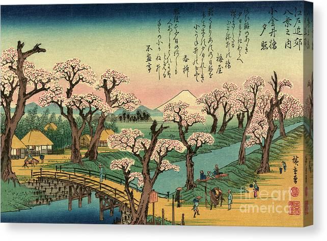 Koganeibashi no sekisho - Evening glow at Koganei Bridge by Utagawa Hiroshige