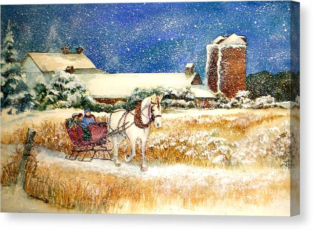 Watercolor;sleigh;horse;barn;silos;winter;snow;sleigh Ride;christmas; Canvas Print featuring the painting Sleigh Ride At Brickers by Lois Mountz