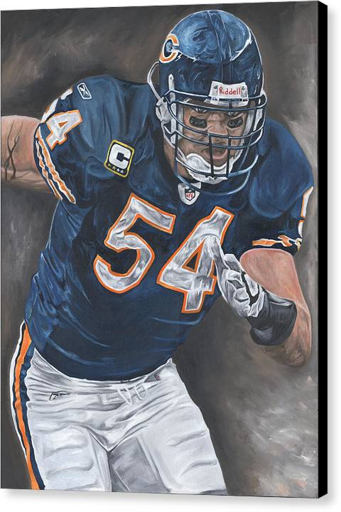 Brian Urlacher Chicago Bears Nfl Football Sports Painting Tackle Linebacker Defense David Courson Art Canvas Print featuring the painting Brian Urlacher Seek And Destroy by David Courson