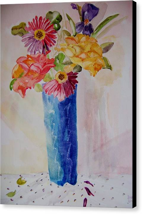 Sunlit Flowers Canvas Print featuring the painting Sunlight Enters by Jacqueline Coote