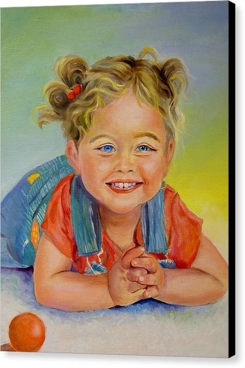 Portrait Canvas Print featuring the print Herbs Grandaughter by George Markiewicz