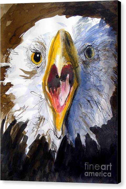 Wildlife Canvas Print featuring the painting Screaming Eagle 2004 by Paul Miller