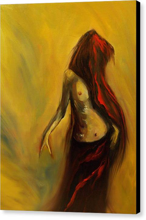 Semi Nude Woman Hair Yellow Canvas Print featuring the painting Tu Solo Tu by Niki Sands