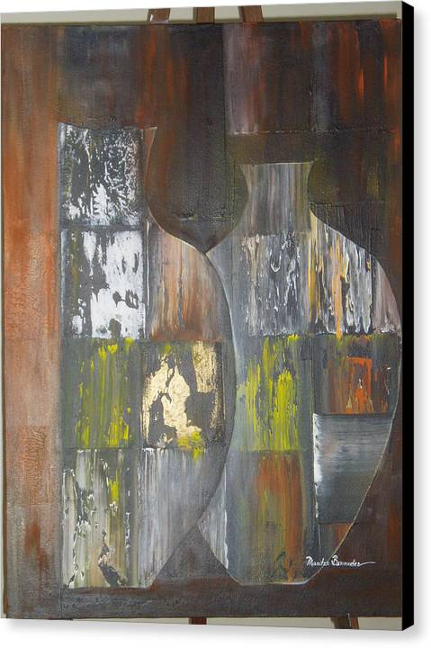 Vases Canvas Print featuring the painting Two Vases by Maritza Bermudez
