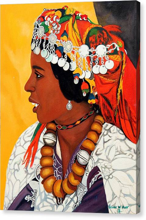 African American Art Canvas Print featuring the painting African Beauty by Patrick Hunt