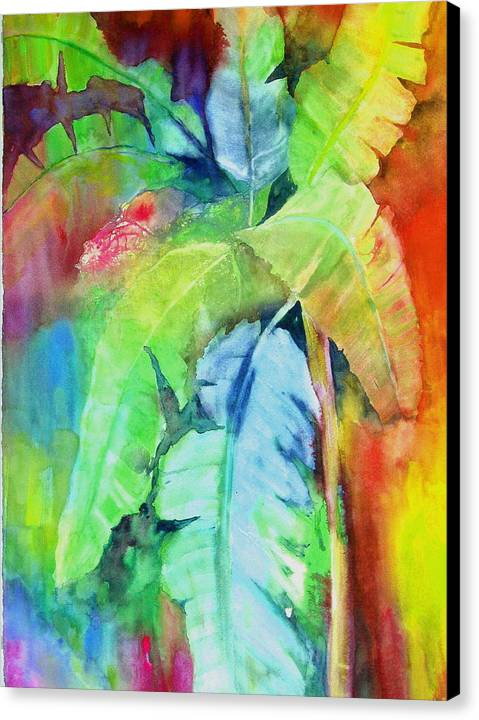Tropical Tree Canvas Print featuring the painting Banana Leaves by Maritza Bermudez