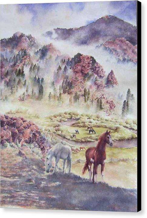 Horses Canvas Print featuring the painting Out Of The Mist by Barbara Widmann