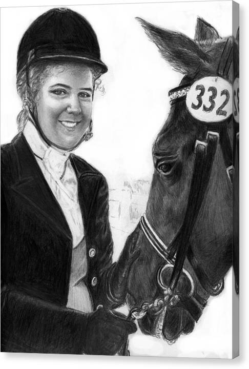 Horseequestrian Canvas Print featuring the drawing Amira And Perias by Carliss Mora