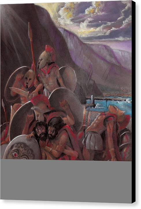 300 Spartans Canvas Print featuring the drawing Death Of Leonidas by Michael Weber