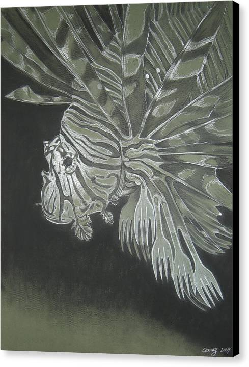 Environment Canvas Print featuring the drawing Lionfish With Forks by Elizabeth Comay