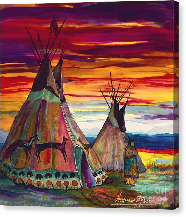 Tipee Canvas Print featuring the painting Summer on the Plains by Anderson R Moore