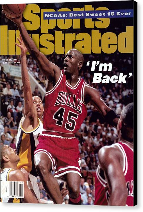 Nba Pro Basketball Canvas Print featuring the photograph Chicago Bulls Michael Jordan... Sports Illustrated Cover by Sports Illustrated