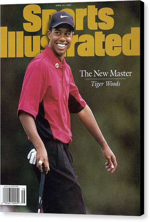 Magazine Cover Canvas Print featuring the photograph Tiger Woods, 1997 Masters Sports Illustrated Cover by Sports Illustrated