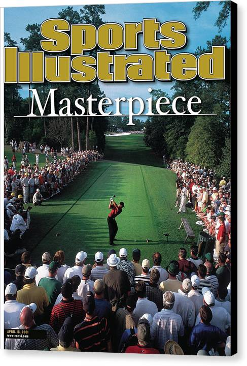 Magazine Cover Canvas Print featuring the photograph Tiger Woods, 2001 Masters Sports Illustrated Cover by Sports Illustrated